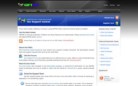 Screenshot of Support Page gifttek.com - GiftTEK - Hosted Gift Card Solution For All Business - Low Start Up Cost, NO Per transaction fees - Join Today! - captured Sept. 30, 2014