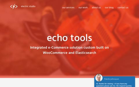 Screenshot of Case Studies Page electricstudio.co.uk - ECHO Tools Custom WooCommerce eCommerce Website | Electric Studio - captured Sept. 20, 2017