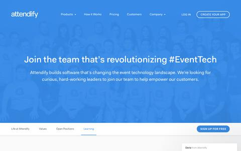 Screenshot of Jobs Page attendify.com - Join a Team that's Revolutionizing EventTech | Attendify - captured Aug. 14, 2017