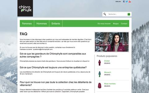 Screenshot of FAQ Page chlorophylle.net - FAQ - Chlorophylle - captured Sept. 29, 2014