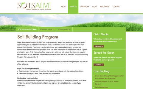 Screenshot of Services Page soilsalive.com - Soil Building Program by Soils Alive - Soils Alive, Inc. - Organic Lawn Care - Dallas, TX - captured Oct. 7, 2014