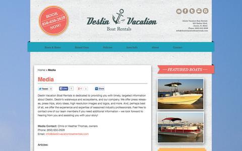 Screenshot of Press Page destinvacationboatrentals.com - Media - Destin Vacation Boat Rentals - captured Sept. 25, 2014