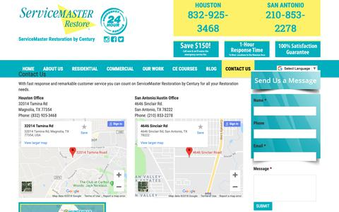 Screenshot of Contact Page smcentury.com - Contact Service Master restore - captured Oct. 18, 2018