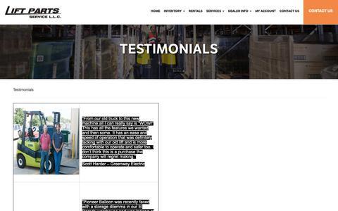 Screenshot of Testimonials Page liftpartsservice.com - Testimonials | Wichita Kansas Forklift Dealer | Topeka, Salina, Augusta, Newton, Derby - captured Sept. 28, 2018