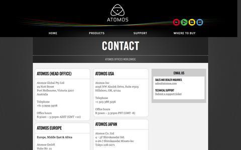Screenshot of Contact Page atomos.com - Contact | Atomos - captured Sept. 18, 2014