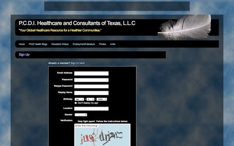 Screenshot of Signup Page webs.com - Signup - P.C.D.I. Healthcare and Consultants of Texas, L.L.C - captured Sept. 13, 2014