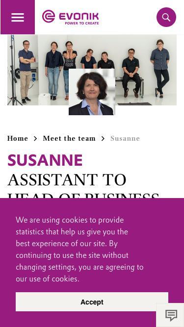 Screenshot of Team Page  evonik.com - Susanne                                                                - Evonik Careers