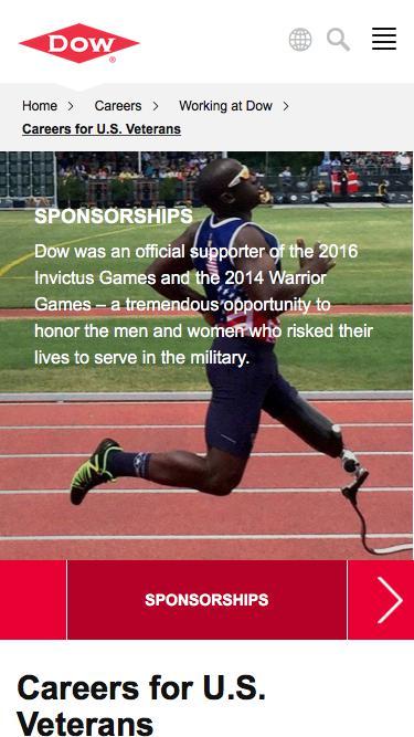 Screenshot of Jobs Page  dow.com - Careers for U.S. Veterans   Dow