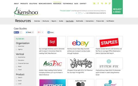 Screenshot of Case Studies Page kenshoo.com - Kenshoo Case Studies | Smells like victory… - captured Sept. 16, 2014
