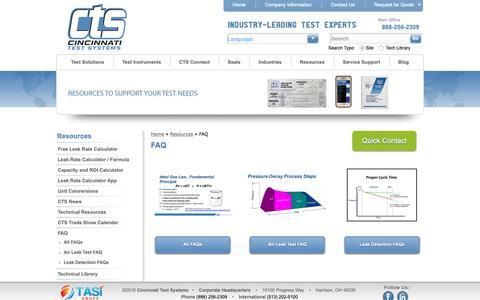 Screenshot of FAQ Page cincinnati-test.com - FAQ | Frequently Asked Questions | Cincinnati Test Systems - captured Sept. 28, 2018
