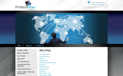 Screenshot of Site Map Page protechflowsolutions.com - valves flanges pipe fittings distributor to oil gas petrochemical utility industry - captured Oct. 3, 2014