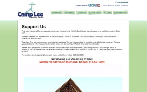 Screenshot of Support Page camplee.org - Support Us | Camp Lee - captured March 27, 2019