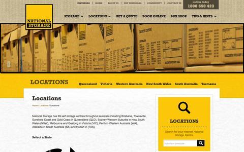 Screenshot of Locations Page nationalstorage.com.au - Locations | National Storage - Self Storage Locations Across Australia - captured Oct. 9, 2014