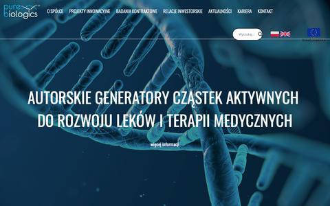 Screenshot of Home Page purebiologics.com - Analityka, koniugacja, refolding białek, białka na zamówienie - captured Dec. 16, 2018