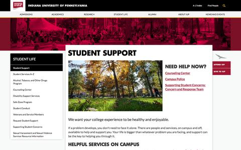 Screenshot of Support Page iup.edu - Student Support - Student Life - Indiana University of Pennsylvania - captured Sept. 18, 2017