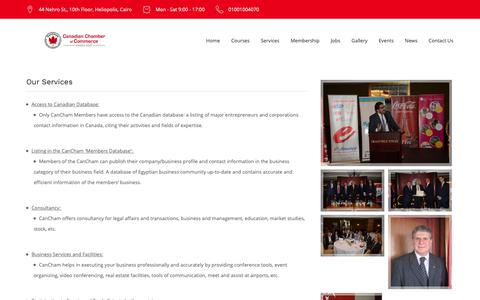 Screenshot of Services Page cancham.org.eg - Our Services - Canadian Chamber Of Commerce in Egypt - captured Sept. 26, 2018