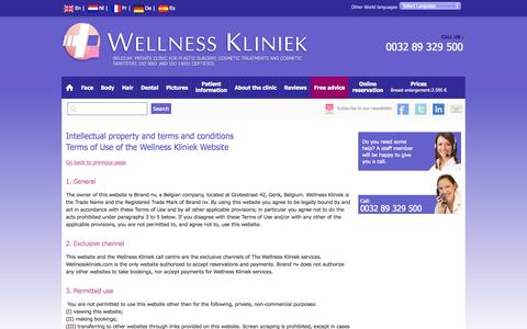 Screenshot of Terms Page wellnesskliniek.com - Intellectual property and terms and conditions - captured Sept. 23, 2014