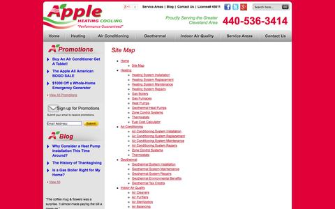 Screenshot of Site Map Page appleheating.com - Site Map - captured Oct. 4, 2014