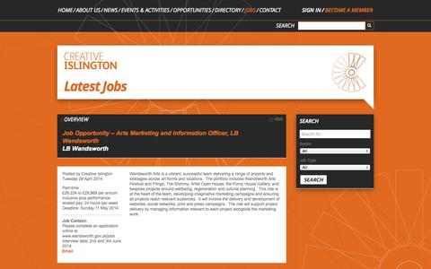 Screenshot of Jobs Page creativeislington.com - Job Opportunity – Arts Marketing and Information Officer, LB Wandsworth » Creative Islington - captured Sept. 26, 2014