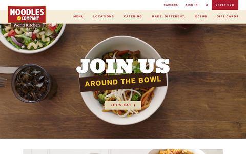 Screenshot of Home Page noodles.com - Noodles & Company - Noodles, Pasta, Salads & More - captured Oct. 19, 2016