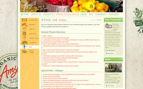 Screenshot of FAQ Page amys.com - Amy's Kitchen : Natural and Organic Foods - captured Oct. 31, 2014