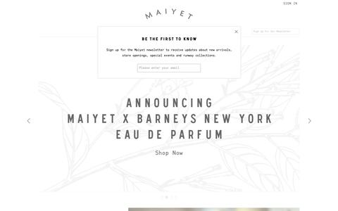 Screenshot of Home Page maiyet.com - MAIYET - captured Sept. 16, 2014