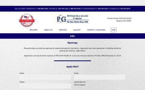 Screenshot of Jobs Page pensacolaglass.com - About Pensacola Glass | Commercial & Residential Glass for Pensacola, FL - captured Sept. 27, 2018