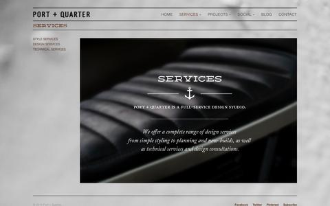 Screenshot of Services Page portandquarter.com - SERVICES | Port + Quarter - captured Sept. 30, 2014