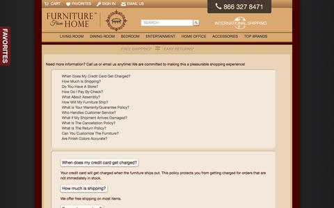 Screenshot of FAQ Page furniturefromhome.com - Frequently Asked Questions - - captured Sept. 4, 2018