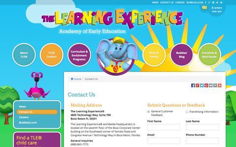 Screenshot of Contact Page thelearningexperience.com - Contact Us | The Learning Experience® - captured Nov. 5, 2014
