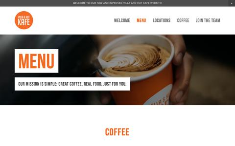 Screenshot of Menu Page villaandhutkafe.com.au - Menu — Villa and Hut Kafe - captured Feb. 24, 2016