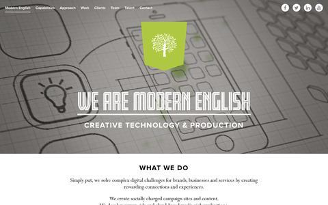 Screenshot of Home Page modern-english.co.uk - We are Modern English   Creative technology & production : Modern English - captured Sept. 25, 2018