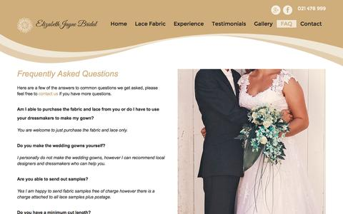 Screenshot of FAQ Page elizabethjayne.co.nz - FAQ Bridal Fabric | Elizabeth Jayne | Browns Bay - captured Nov. 5, 2016
