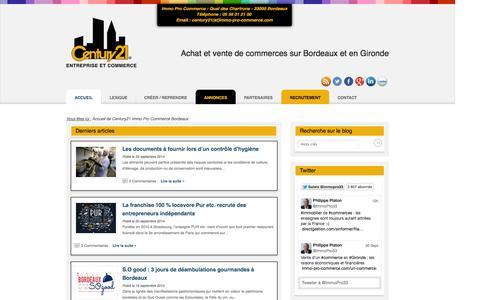 Screenshot of Home Page immo-pro-commerce.com - Achat et vente fonds de commerce à Bordeaux - Century21 Immo Pro Commerce - captured Oct. 2, 2014