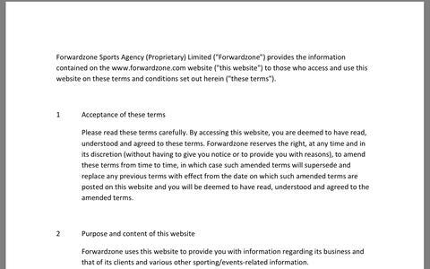 Screenshot of Terms Page forwardzone.com captured Oct. 6, 2014