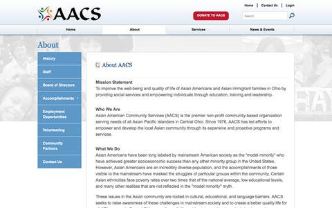 Screenshot of About Page aacsohio.org - About - aacs ohio - captured Oct. 8, 2017
