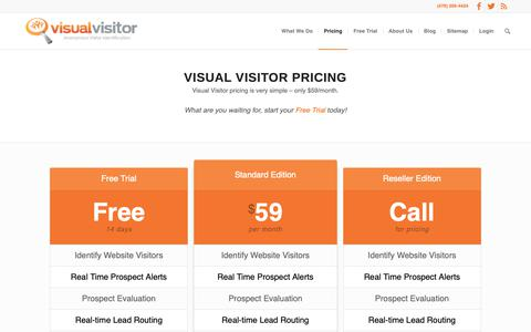 Screenshot of Pricing Page visualvisitor.com - Visual Visitor Pricing, website visitor tracking Virtual Visitor - captured Oct. 19, 2018