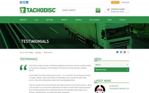 Screenshot of Testimonials Page tachodisc.co.uk - Testimonials | Tachodisc - captured Aug. 11, 2016