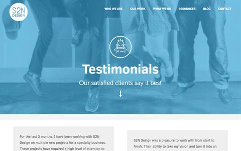 Screenshot of Testimonials Page s2ndesign.com - Testimonials | S2N Design | Web Design | Branding | Marketing Memphis Web Design | S2N Design - captured Sept. 22, 2014