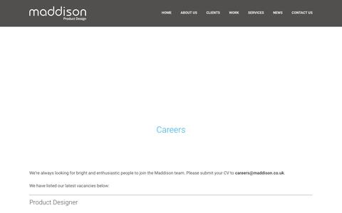 Screenshot of Jobs Page maddison.co.uk - Careers - Maddison - captured Feb. 4, 2016