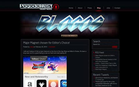 Screenshot of Blog pagodawestgames.com - Blog | PagodaWest Games LLC - captured Oct. 1, 2014