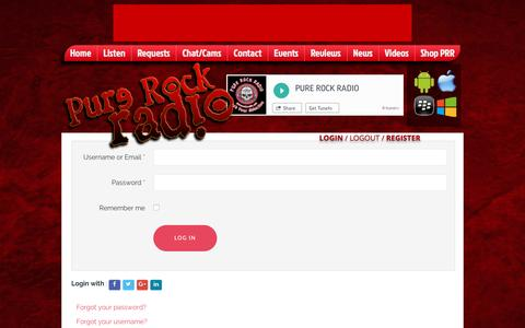 Screenshot of Login Page purerockradio.net - Login/Register | login or register to enjoy all features of this site - captured May 24, 2017