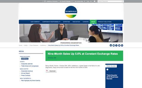 Screenshot of Pricing Page biomerieux.com - Nine Month Sales Up 5.6% at Constant Exchange Rates | bioMérieux Corporate Website - captured Dec. 12, 2019