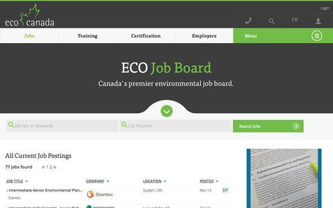 Screenshot of Jobs Page eco.ca - Canada's Largest Environmental Job Board   ECO Canada - captured Nov. 23, 2015