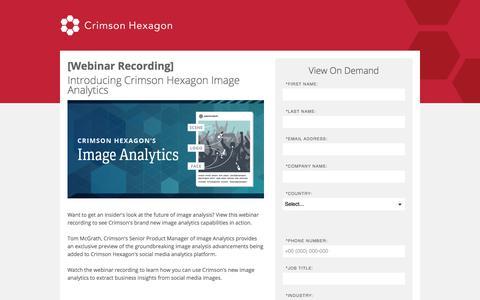 Screenshot of Landing Page crimsonhexagon.com - Introducing Crimson Hexagon Image Analytics - captured Sept. 11, 2017