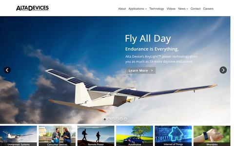 Screenshot of Home Page altadevices.com - Alta Devices delivers the world�s most efficient solar mobile power technology Alta Devices - captured Nov. 5, 2015