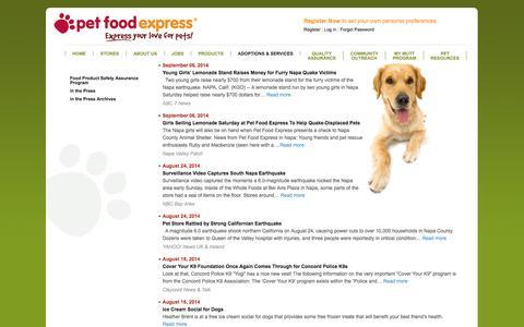 Screenshot of Press Page petfoodexpress.com - Pet Food Express: News - captured Sept. 23, 2014