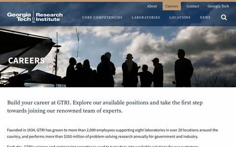 Screenshot of Jobs Page gatech.edu - Careers | GTRI - captured Jan. 29, 2019