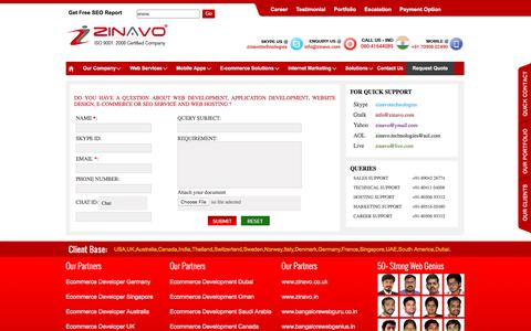 Screenshot of Services Page zinavo.com - Request Quote for Web design,Web development,Search engine optimization Companies in Bangalore,India. - captured Aug. 12, 2016