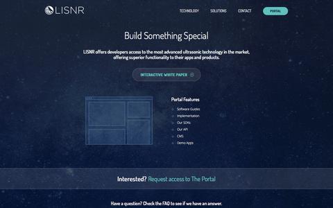 Screenshot of Developers Page lisnr.com - Developers – LISNR - captured May 9, 2017